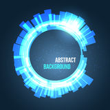 Abstract space background circles blue with lights. Vector illustration Royalty Free Stock Image