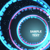 Abstract space background circles red and blue with lights. Stock Images