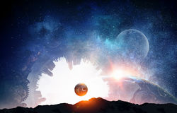 Abstract space background. Fantasy image with Earth planet and space. Elements of this image furnished by NASA Royalty Free Stock Images