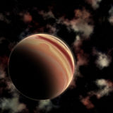 Abstract space background. With fictional planet Stock Image