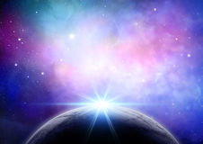 Abstract space background with fictional planet. Abstract space background with colourful nebula and fictional planet Stock Photography