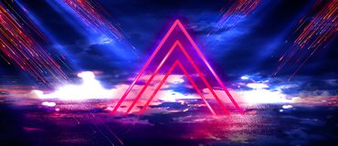 Abstract space background, neon lamps, light triangle, glare, rays, smoke. Space portal, intergalactic passage royalty free illustration