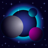 Abstract space background. With planets. Vector illustration Stock Photography