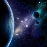 Abstract space background. With stars, starfield and fictional planets Stock Photo