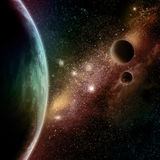 Abstract space background. With stars, starfield and fictional planets vector illustration