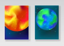 Abstract space backgrounds with Sun and Earth. Trendy space backgrounds with gradient planets Sun, Earth, Mars and white connected stars or network for fashion Royalty Free Stock Photography