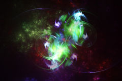 Abstract space fractal with colorful plasma. On dark background vector illustration