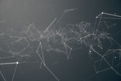 Abstract space gray tint background. Chaotically connected points and polygons flying in space. Flying debris. Futuristic technology style, Elegant background Royalty Free Stock Photography