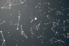 Abstract space gray tint background. Chaotically connected points and polygons flying in space. Flying debris. Futuristic technology style, Elegant background Stock Photography