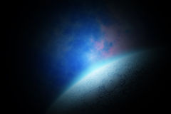 Abstract space landscape with planet and sunrise Stock Images