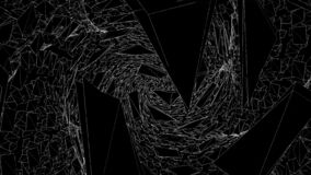 Abstract space of moving sharp triangles. Animation. Dark sharp triangles gather in space in spiral pattern. Broken. Triangles are joined into single spiral stock illustration