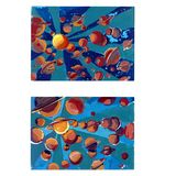 Abstract space with planets of gouache royalty free illustration