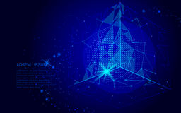 Abstract space polygonal art. Triangle cube and globe. Dark blue night sky background isometric connected dots line point i. Abstract space polygonal art vector illustration