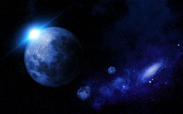 Abstract space scene. With fictional planets Royalty Free Stock Photo