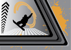 Abstract space skateboarding. With silhouette of skateboarder Stock Image