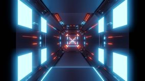 Abstract space tunnel with blue lights and red reflection stock illustration
