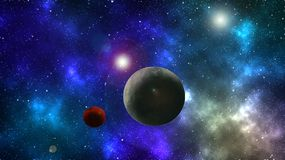 Abstract Space Wallpaper Colorful Background Planet And Moon Star In The