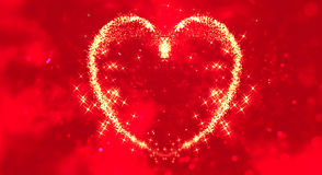 Abstract sparkle glitter particles like hearts shape on red blur bokeh background, valentine day love holiday event stock illustration