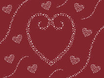 Abstract sparkle heart design with swirls valentines day card maroon background illustration Stock Photos