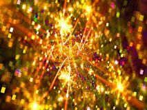 Abstract sparklers - golden fractal christmas blurred background stock images