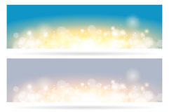 Abstract sparkling cloud light fantasy blue and gray background. Bright glow spark and bokeh effect horizontal banner set Royalty Free Stock Photography