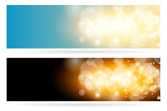 Abstract sparkling cloud light magic blue background. Bright glow spark and bokeh effect horizontal banner set. Stock Photos