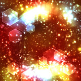 Abstract sparkling festive background. Abstract background with sparkling festive hexagonal bokeh stock image