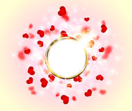 Abstract Sparkling Glow Golden Ring Frame Heart for Valentines Day Stock Image