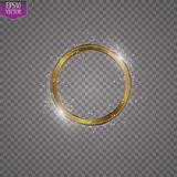 Abstract sparkling golden frame light effect on transparent background. Spark with ring glossy line. EPS 10 Stock Photography