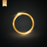 Abstract sparkling golden frame light effect on transparent background. Spark with ring glossy line. EPS 10 Stock Image