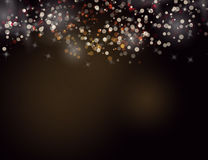 Abstract Sparkling Stars Golden Holiday Background bokeh effect. Vector Illustration Stock Images