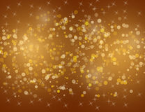Abstract Sparkling Stars on Golden Holiday Background. Stock Images