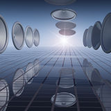 Abstract - Speaker Grid Hall. Hall of Speakers in a row over a music grid Royalty Free Stock Images