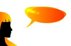 Abstract speaker silhouette with speech bubble Stock Photography