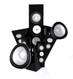 Abstract speakers in black Stock Image