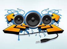 Abstract speakers compisition. Abstract splatter and arrow design for music flyers Stock Images
