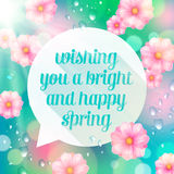 Abstract speech bubble with spring greeting Royalty Free Stock Photography