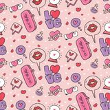 Abstract speech bubbles and heart seamless pattern. Can be use as background, greeting card etc royalty free illustration