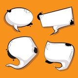Abstract speech bubbles set white cow texture figures. Abstract speech bubbles set. white cow texture figures with place for text. Cartoon style vector vector illustration