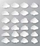 Abstract speech bubbles in the shape of clouds. Paper cut style Royalty Free Stock Image