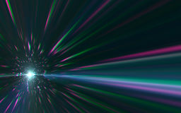 Abstract speed lens flare. And ray light on black background stock illustration