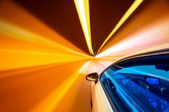 Abstract speed motion in tunnel, blurred motion. royalty free stock image