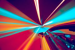 Abstract speed motion in tunnel, blurred motion. stock photo