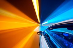 Abstract speed motion in tunnel, blurred motion. stock image