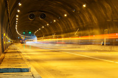 Abstract speed motion in urban highway road tunnel Royalty Free Stock Photos