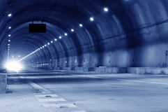 Abstract speed motion in urban highway road tunnel Royalty Free Stock Photo
