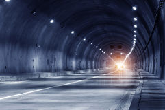 Abstract speed motion in urban highway road tunnel Royalty Free Stock Images