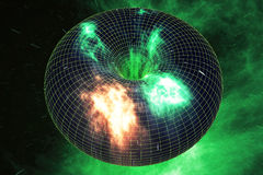 Abstract speed tunnel warp in space, wormhole or black hole, scene of overcoming the temporary space in cosmos. 3d. Abstract speed tunnel warp in space, wormhole Royalty Free Stock Photography