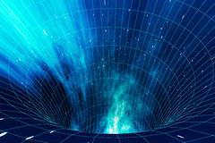 Abstract speed tunnel warp in space, wormhole or black hole, scene of overcoming the temporary space in cosmos. 3d Stock Photo