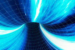 Abstract speed tunnel warp in space, wormhole or black hole, scene of overcoming the temporary space in cosmos. 3d Stock Photography